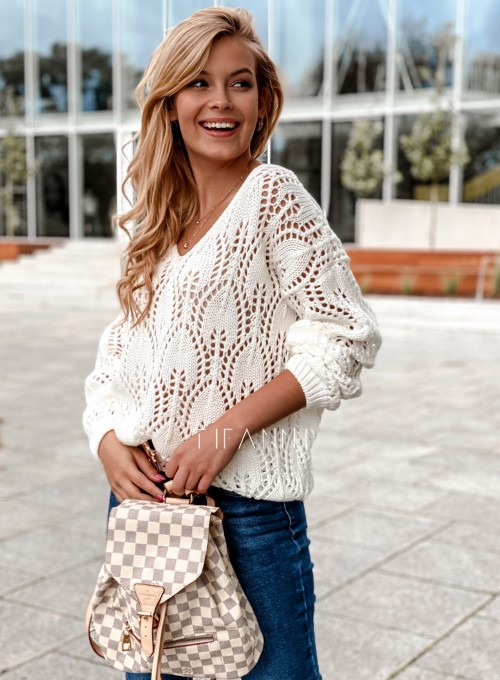 Sweter ażurowy Savi śmietankowy 4
