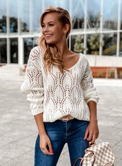 Sweter ażurowy Savi śmietankowy 5