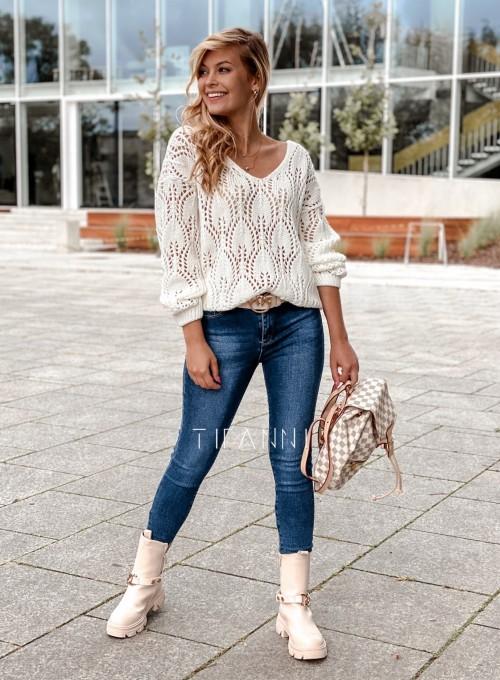 Sweter ażurowy Savi śmietankowy 1