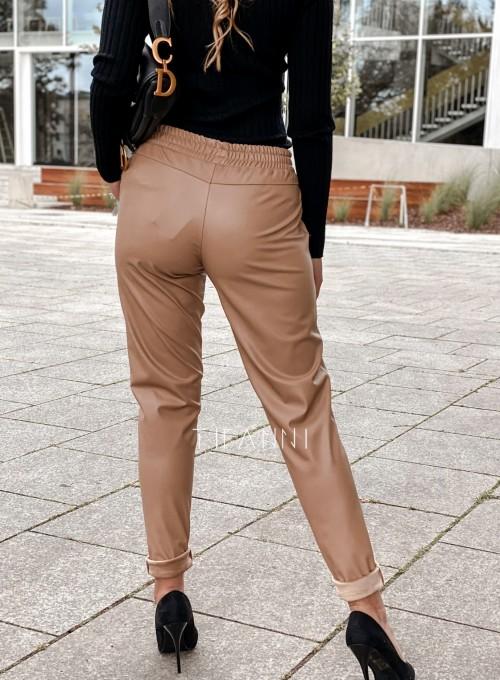 Woskowane spodnie Tonni nude 2