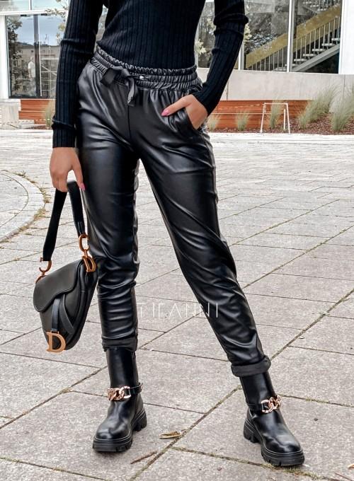 Woskowane spodnie Tonni czarne