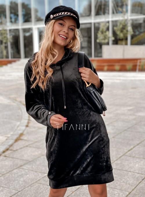 Welurowa sukienka Karmain czarna 2