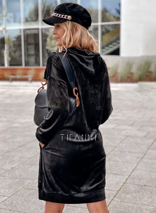 Welurowa sukienka Karmain czarna 3