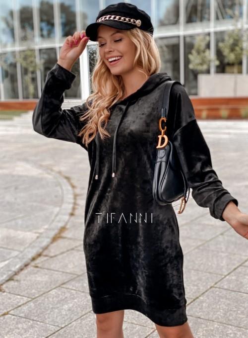 Welurowa sukienka Karmain czarna 4