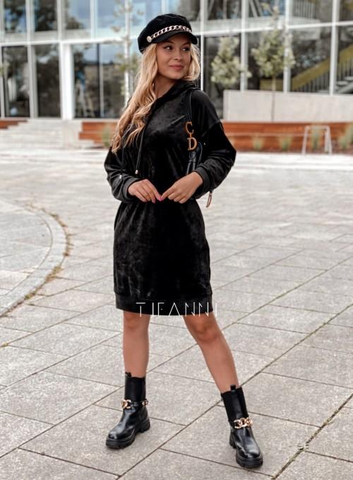 Welurowa sukienka Karmain czarna 1
