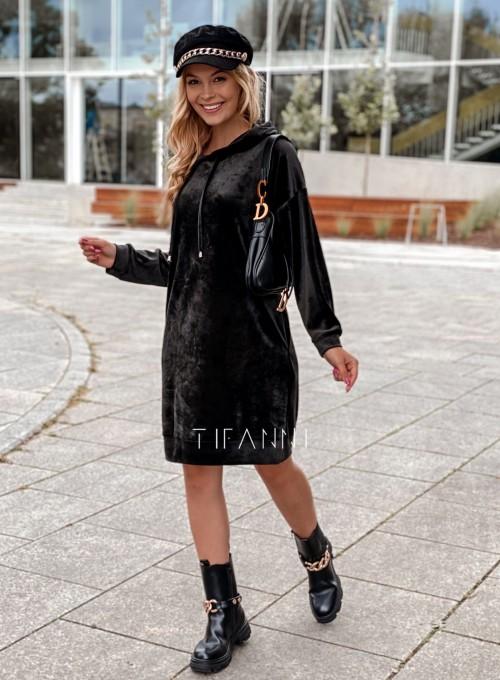 Welurowa sukienka Karmain czarna 6