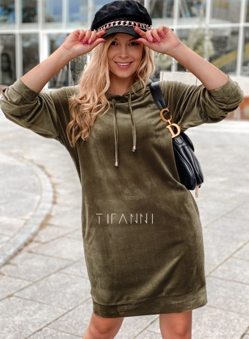 Welurowa sukienka butelkowa zieleń 4