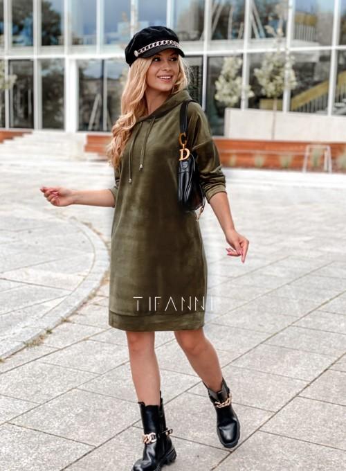 Welurowa sukienka butelkowa zieleń 5