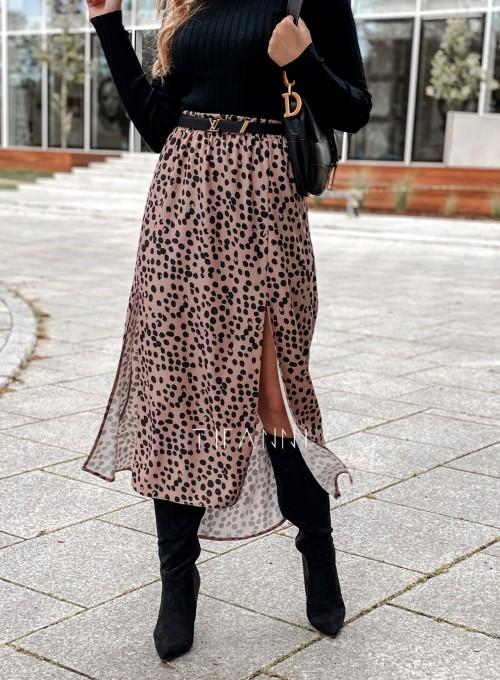 Spódnica midi Draco karmelowa w czarne cętki