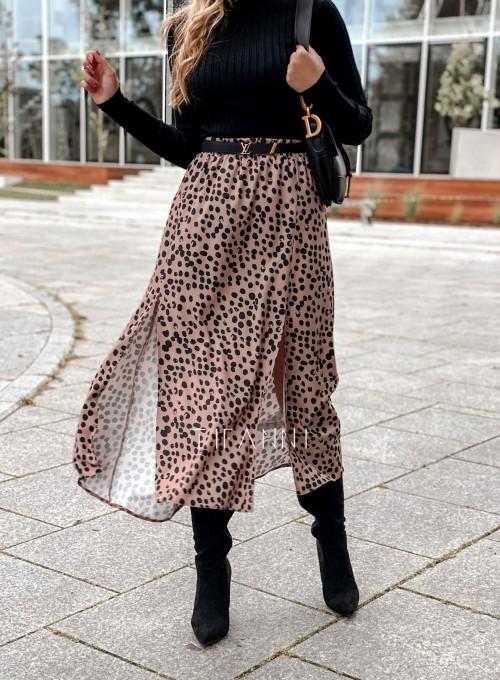 Spódnica midi Draco karmelowa w czarne cętki 6