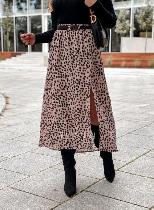 Spódnica midi Draco karmelowa w czarne cętki 2