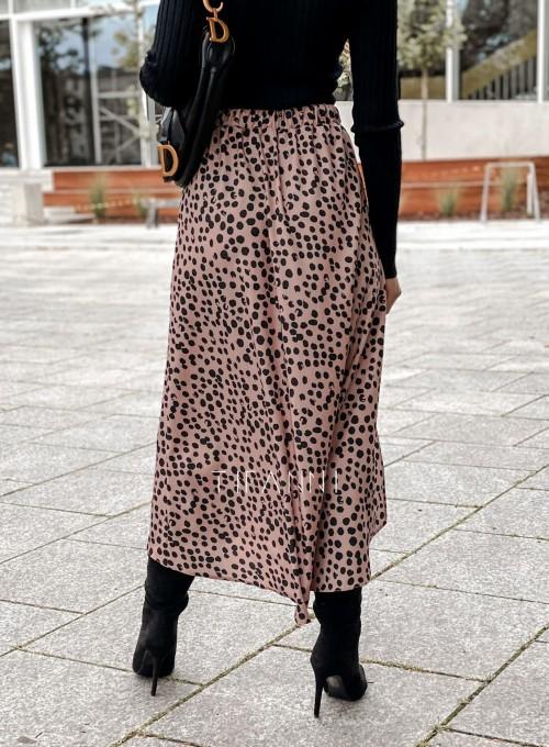 Spódnica midi Draco karmelowa w czarne cętki 4