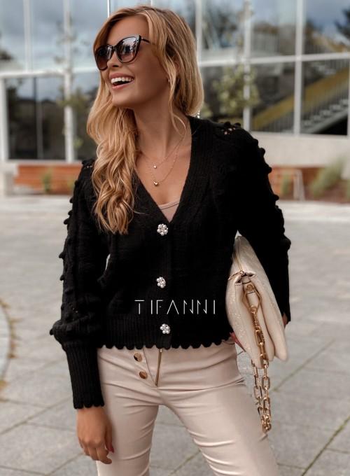 Sweter rozpinany z ozdobnymi guziczkami Carlen czarny