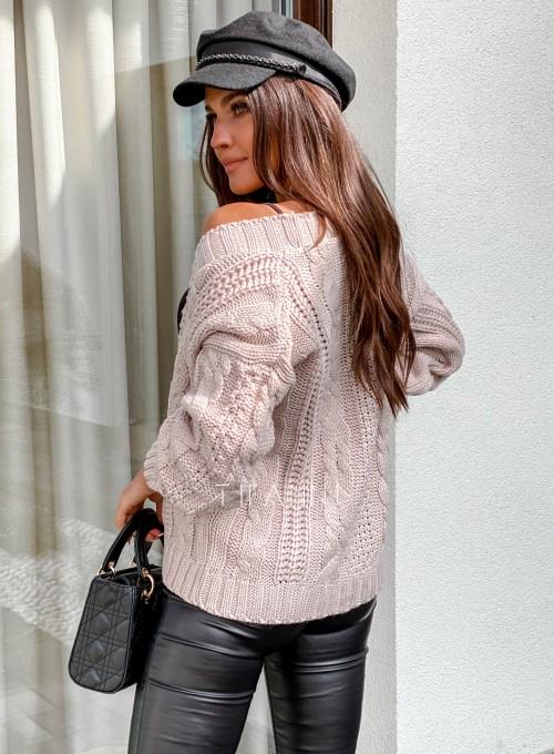 Rozpinany sweter Benita beżowy 3