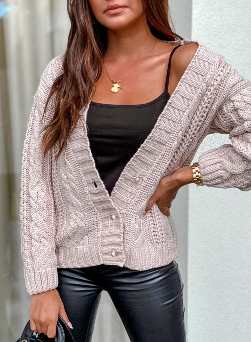 Rozpinany sweter Benita beżowy 1