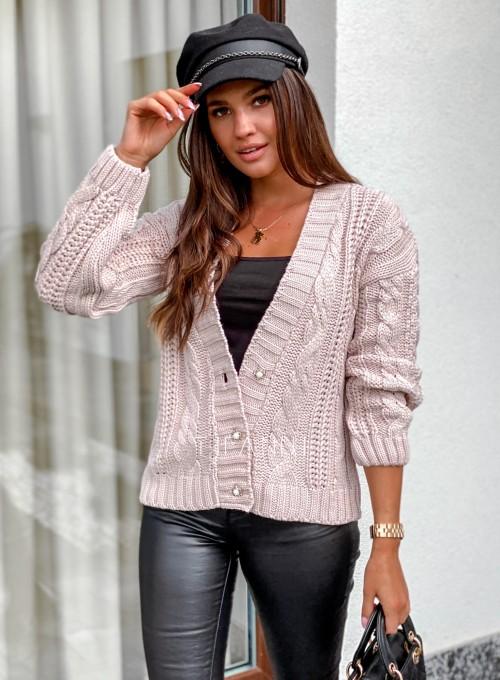 Rozpinany sweter Benita beżowy 4