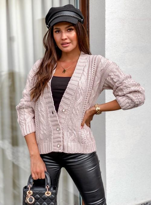 Rozpinany sweter Benita beżowy 2