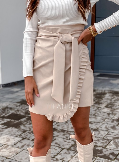 Skajkowa wiązana spódnica Clivi cream 4