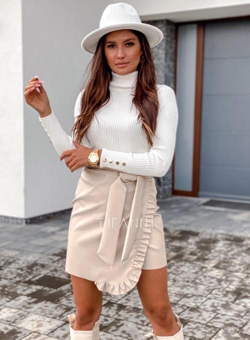 Skajkowa wiązana spódnica Clivi cream 1