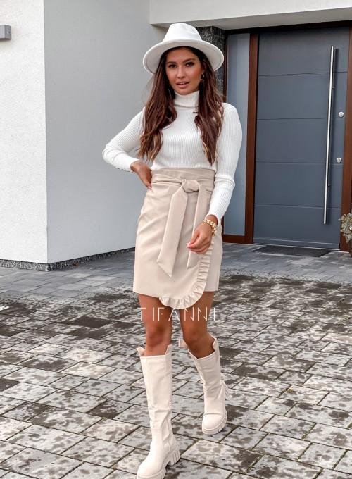 Skajkowa wiązana spódnica Clivi cream 5
