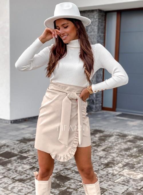 Skajkowa wiązana spódnica Clivi cream 6