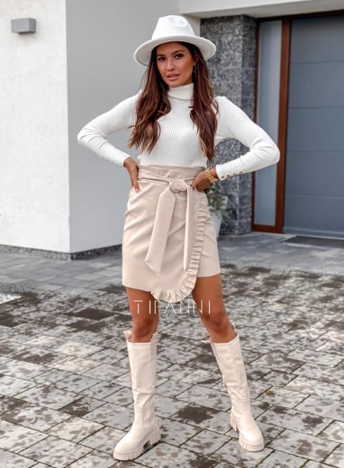Skajkowa wiązana spódnica Clivi cream 7