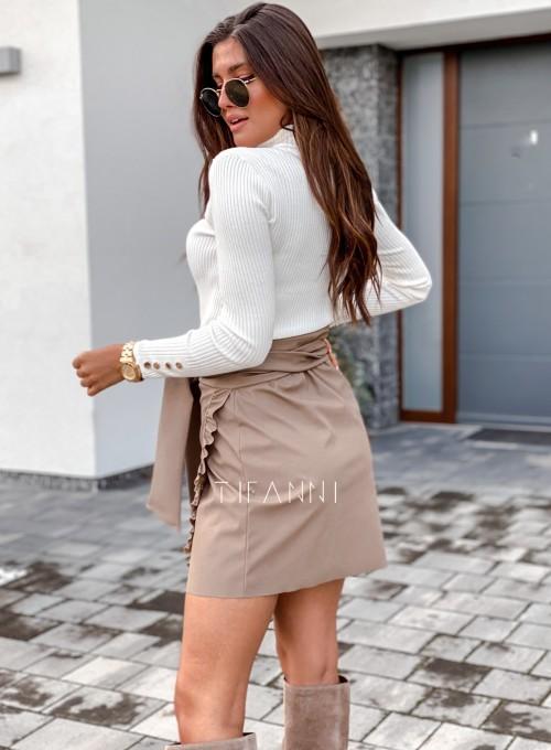 Skajkowa wiązana spódnica Clivi beżowa 2