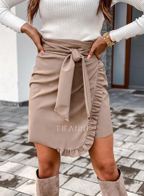 Skajkowa wiązana spódnica Clivi beżowa 4