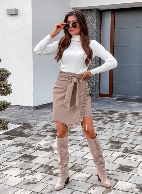 Skajkowa wiązana spódnica Clivi beżowa 5