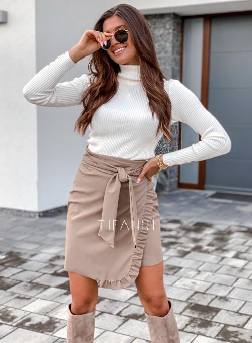 Skajkowa wiązana spódnica Clivi beżowa 1