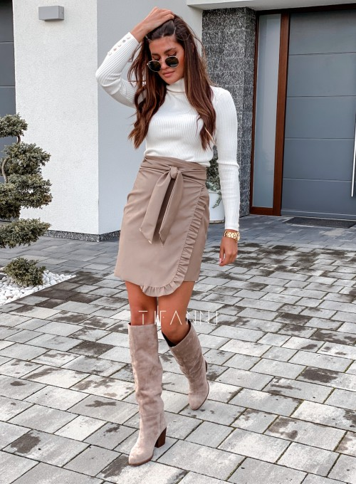 Skajkowa wiązana spódnica Clivi beżowa 6