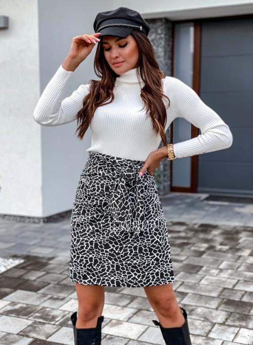 Spódnica wiązana Zalia czarno biała 1