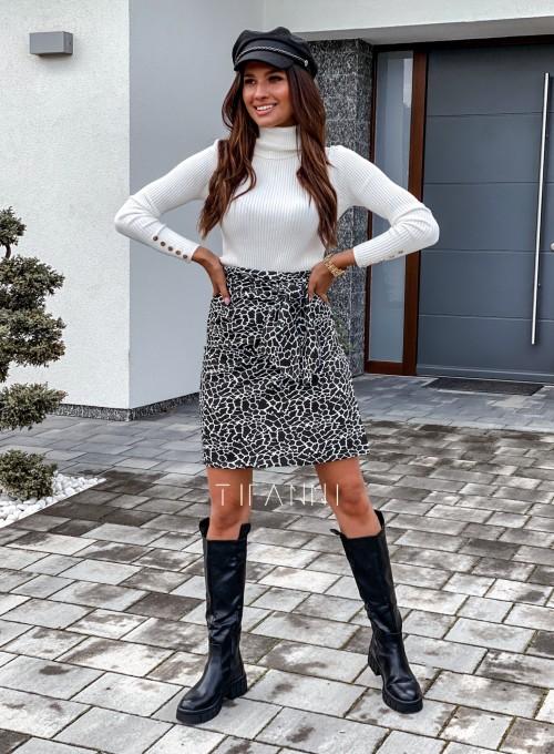 Spódnica wiązana Zalia czarno biała 5