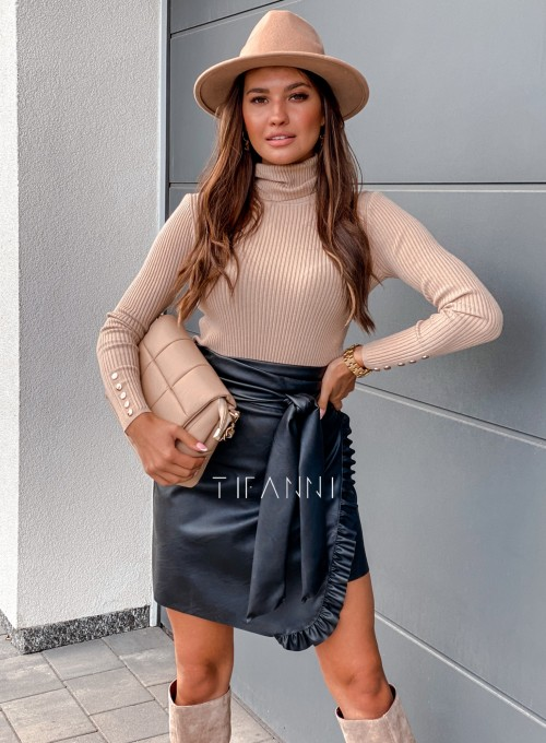 Skajkowa wiązana spódnica Clivi czarna 3