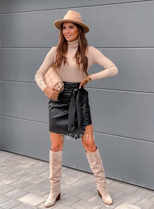 Skajkowa wiązana spódnica Clivi czarna 4