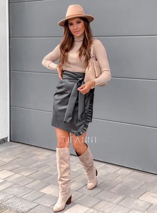 Skajkowa wiązana spódnica Clivi czarna 5