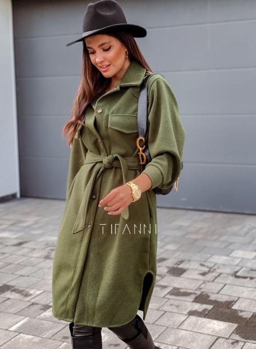 Płaszcz prążkowany Kludi butelkowa zieleń 5