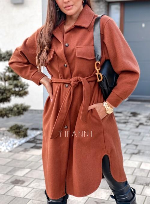 Płaszcz prążkowany Kludi chocolate 2