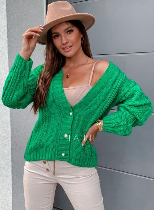 Rozpinany sweter Benita green