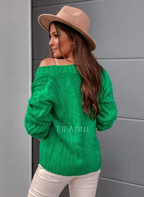 Rozpinany sweter Benita green 3