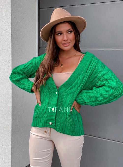 Rozpinany sweter Benita green 4