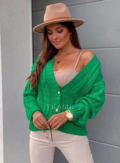 Rozpinany sweter Benita green 2