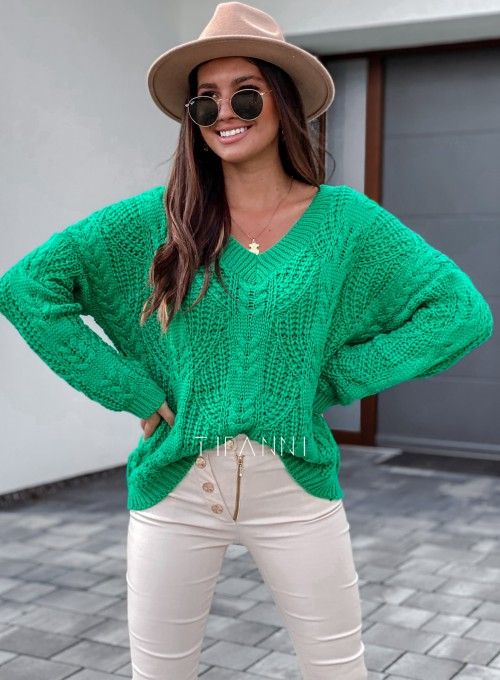 Sweter ażurowy Card green