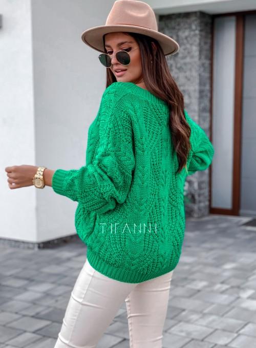 Sweter ażurowy Card green 3
