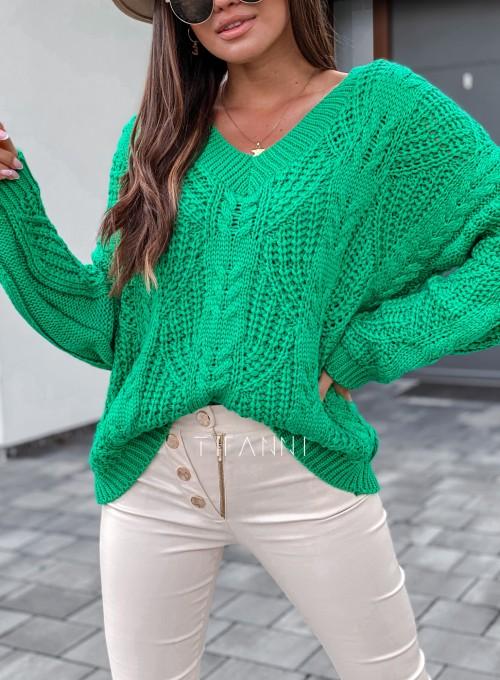 Sweter ażurowy Card green 1