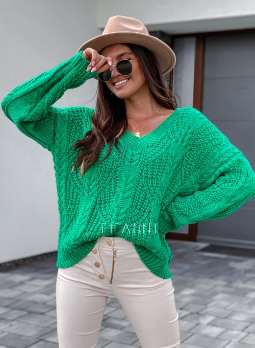 Sweter ażurowy Card green 4