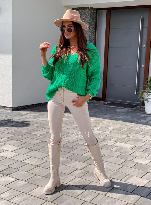 Sweter ażurowy Card green 6
