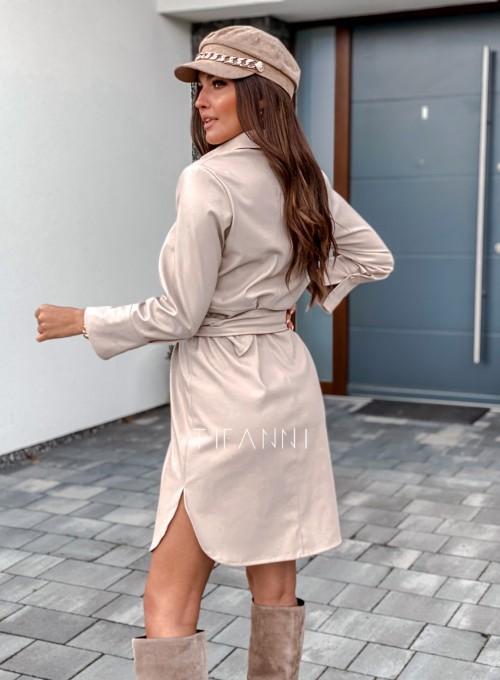 Sukienka skajkowa Fabia beżowa 3