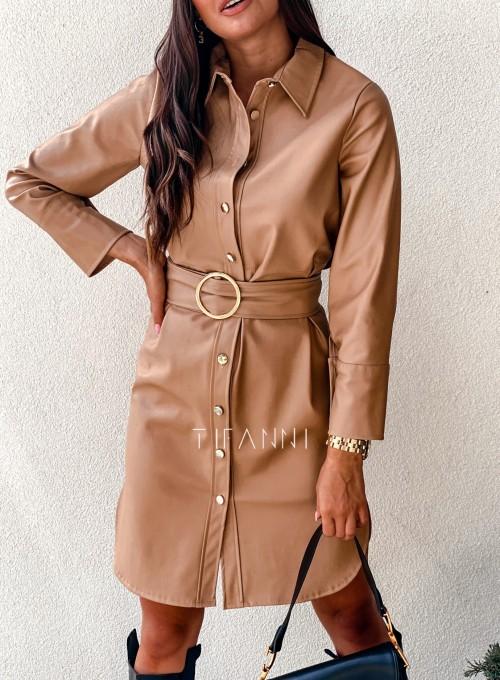 Sukienka skajkowa Fabia karmelowa 3