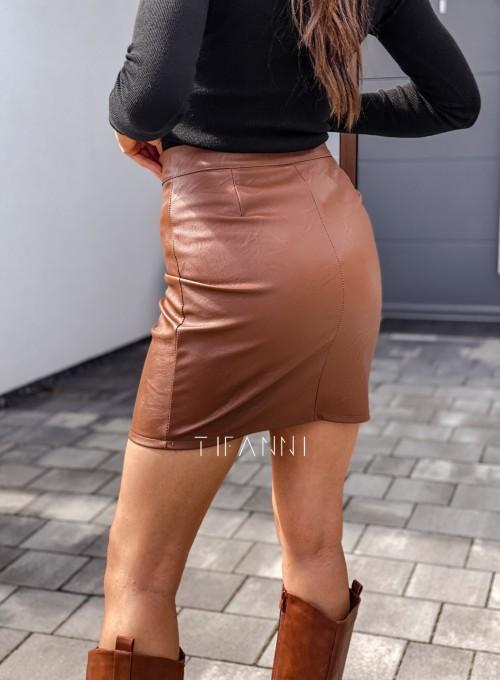 Woskowana spódnica Laure z ozdobnymi napami karmelowa 4